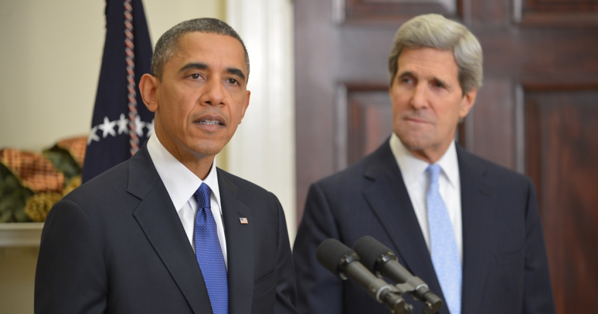 US President Barack Obama announces US Senator John Kerry as his choice for the next secretary of state on December 21, 2012 in the Roosevelt Room of the White House in Washington, DC.</p>