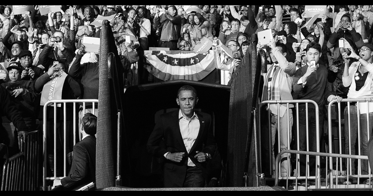 US President Barack Obama takes the stage during a campaign rally in Columbus, Ohio, on Nov. 5, 2012. After a grueling 18-month battle, the final US campaign day arrived Monday for Obama and Republican rival Mitt Romney, two men on a collision course for the world's top job.</p>