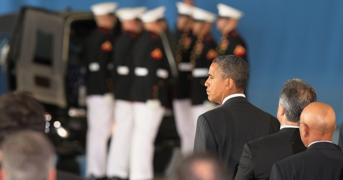 JOINT BASE ANDREWS, MD - US President Barack Obama watches as a casket is placed into a hearse during the Transfer of Remains Ceremony for Ambassador Christopher Stevens and three other Libyan embassy employees September 14. 2012 at Joint Base Andrews, Maryland. The four were killed when the consulate in Libya was attacked Sept. 11 2012.</p>