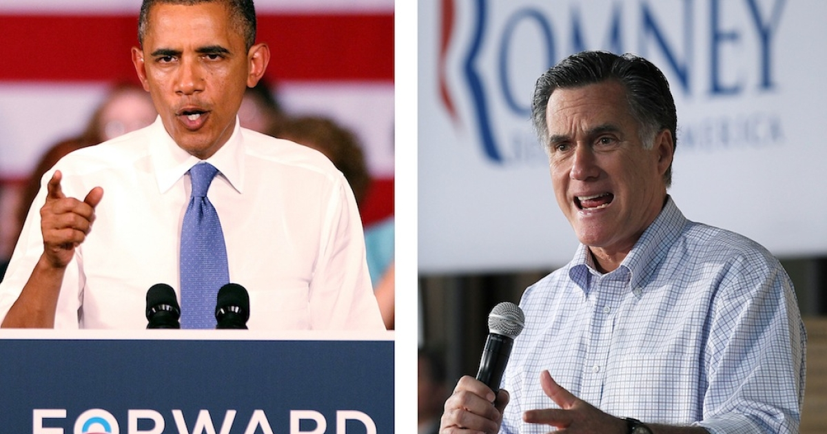 President Barack Obama (L) delivers remarks to seniors at Century Village on July 19, 2012 in West Palm Beach, Florida. Former Massachusetts Gov. Mitt Romney (R) speaks during a town hall style meeting at Wisconsin Building Supply on April 2, 2012 in Green Bay, Wisconsin.</p>