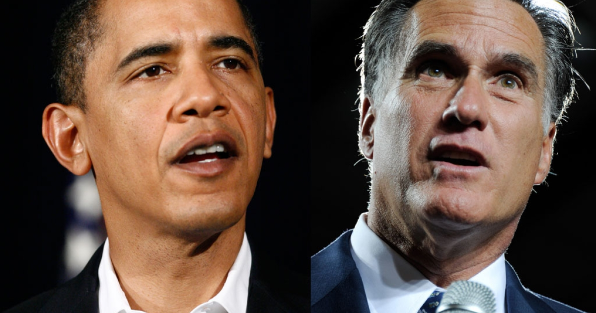 A photo composite of US President Barack Obama (L) and Republican presidential nominee Mitt Romney.</p>