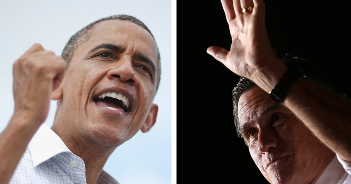 The two US Presidential Candidates: Barack Obama (L) and Mitt Romney (R)</p>