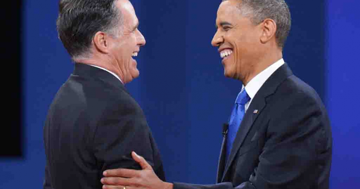 US President Barack Obama and Republican presidential candidate Mitt Romney shake hands at the end of the third and final presidential debate Oct. 22, 2012 at Lynn University in Boca Raton, Florida.</p>
