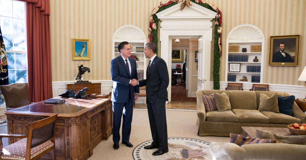 President Barack Obama and Mitt Romney shake hands Nov. 29, 2012, after having lunch at the White House.</p>