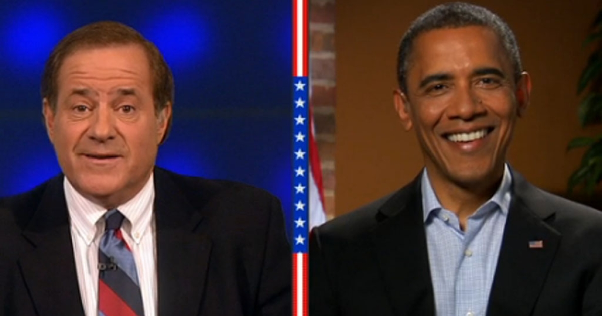 ESPN's Chris Berman interviews President Barack Obama during halftime of the Philadelphia Eagles game against the New Orleans Saints in Louisiana on Monday Night Football, November 5, 2012.</p>
