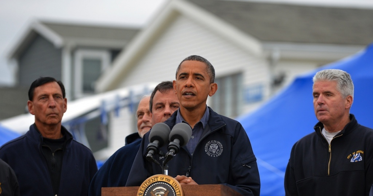Barack Obama speaks after visiting hurricane Sandy affeected neighborhood in Brigantine, New Jersey, on October 31, 2012.</p>