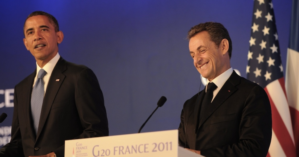 US President Barack Obama and his French counterpart Nicolas Sarkozy hold a joint press conference, ahead of the start of the G20 Summit of Heads of State and Government on Nov. 3, 2011, in Cannes, France.</p>