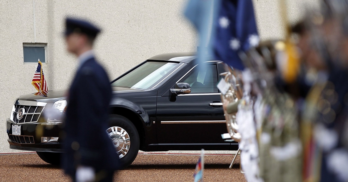 President Barack Obama arrives at the forecourt of Parliament House in Canberra, Australia, on the first day of his 2-day visit Down Under, Nov. 16, 2011.</p>