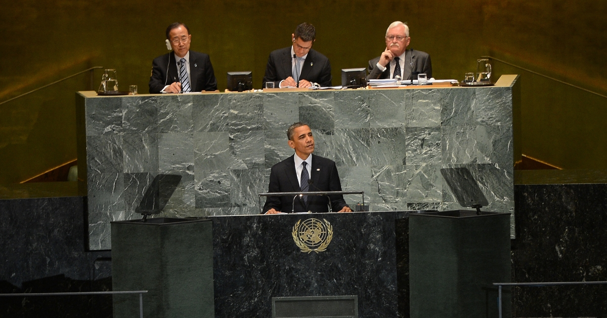 US President Barack Obama addresses the 67th UN General Assembly in New York, Sept. 25, 2012.</p>