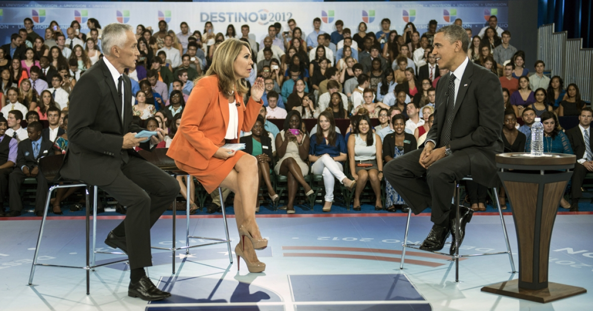 Co-hosts Jorge Ramos, left, and Maria Elena Salinas sit with US President Barack Obama during a break in a taping of Univision News'