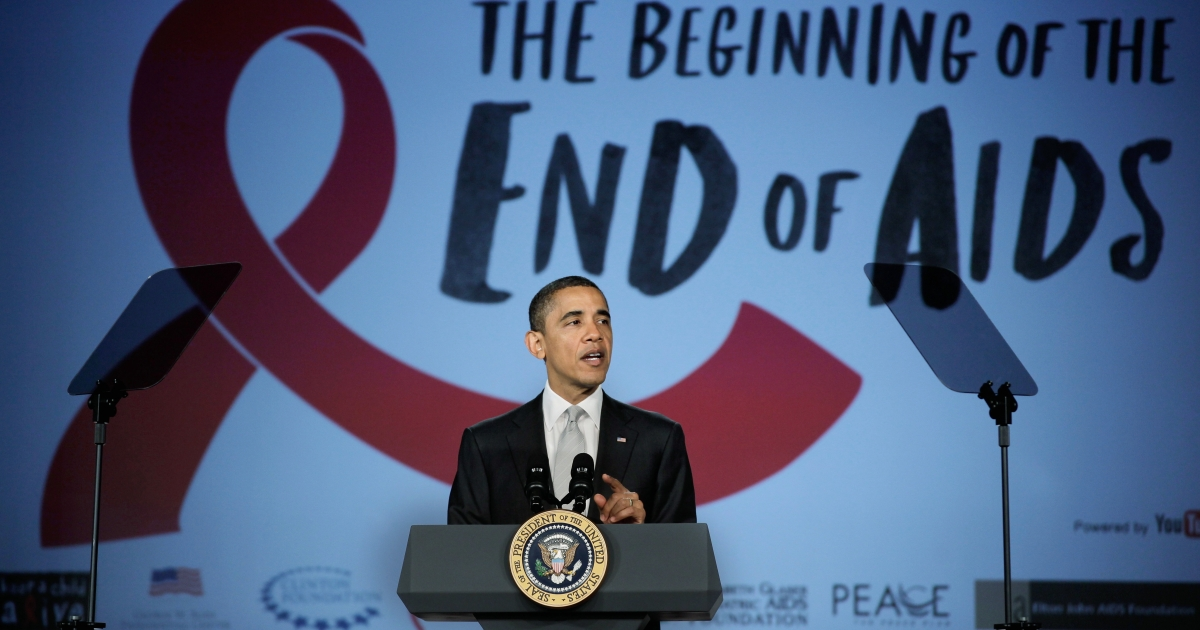 WASHINGTON, DC - DECEMBER 01:  U.S. President Barack Obama delivers remarks during a World AIDS Day event at the Jack Morton Auditorium on the campus of George Washington University December 1, 2011 in Washington, DC. Focusing on