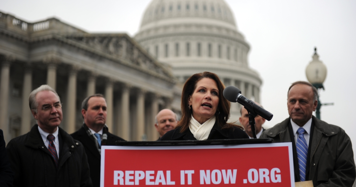 US Representative Michele Bachmann (C) calls for the repeal of the Patient Protection and Affordable Care Act during a press conference on Capitol Hill in Washington, DC,  on Jan, 18, 2011.</p>