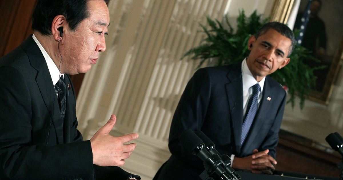 President Barack Obama (R) listens as Japanese Prime Minister Yoshihiko Noda speaks during a news conference in the East Room at the White House on April 30, 2012 in Washington, DC. President Obama and Prime Minister Noda took questions from the media and talked about US-Japanese relations and their strong alliance.</p>