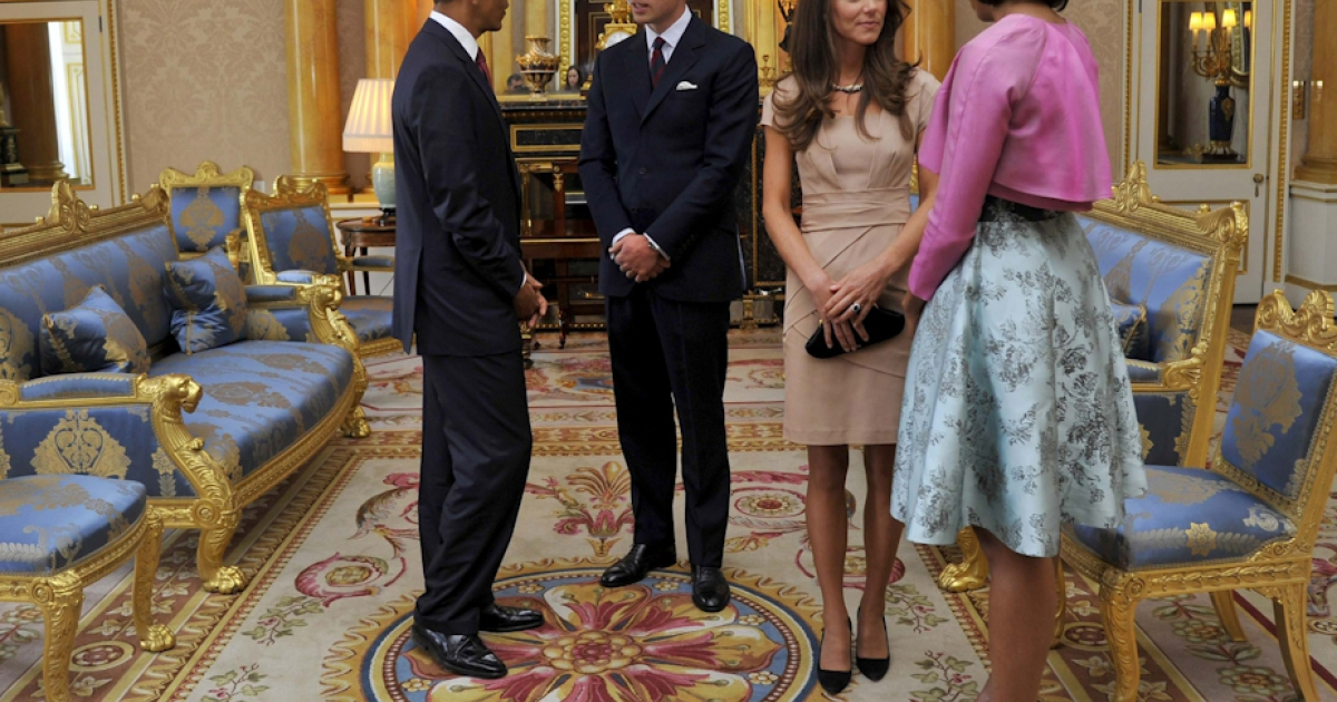 U.S. President Barack Obama and First Lady Michelle Obama meet Britain's Prince William and his wife, Catherine, at Buckingham Palace, in central London, on May 24, 2011. Obama on Tuesday basked in the lavish royal pageantry of a state visit to Britain, given an extra dash of glamor by a brief encounter with Prince William and his bride Catherine. But the 24-hour demands that follow a U.S. president everywhere shadowed the London pomp, as Obama took time out to say he was