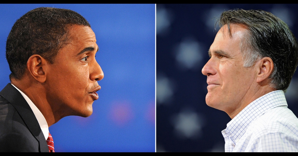 A combination of two pictures shows US President Barack Obama (L) and Republican presidential nominee Mitt Romney (R). The left image dates back to Obama's final debate against Republican John McCain at Hofstra University on Oct. 15, 2008. The image of Romney was taken during his campaign trail in Iowa on December 9, 2011.</p>