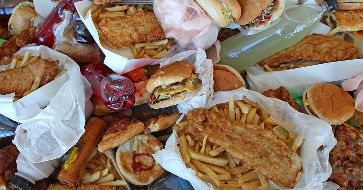Junk food sits on a table as British Celebrity Chef Jamie Oliver announces a partnership to attack state-wide obesity on March 6, 2012 in Melbourne, Australia.</p>
