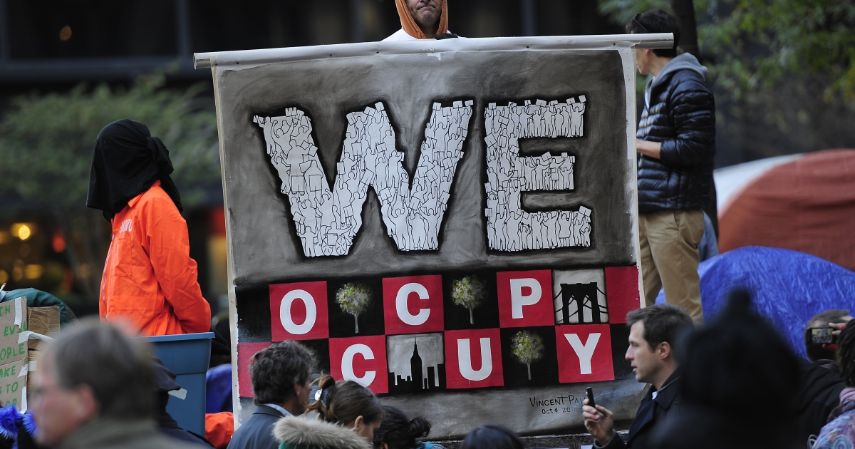 An Occupy Wall Street sign at Zuccotti Park in New York City on Oct. 30, 2011.</p>