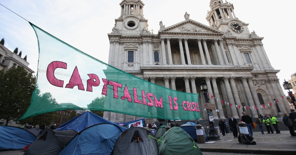 Occupy London protestors camped outside St Paul's Cathedral.</p>