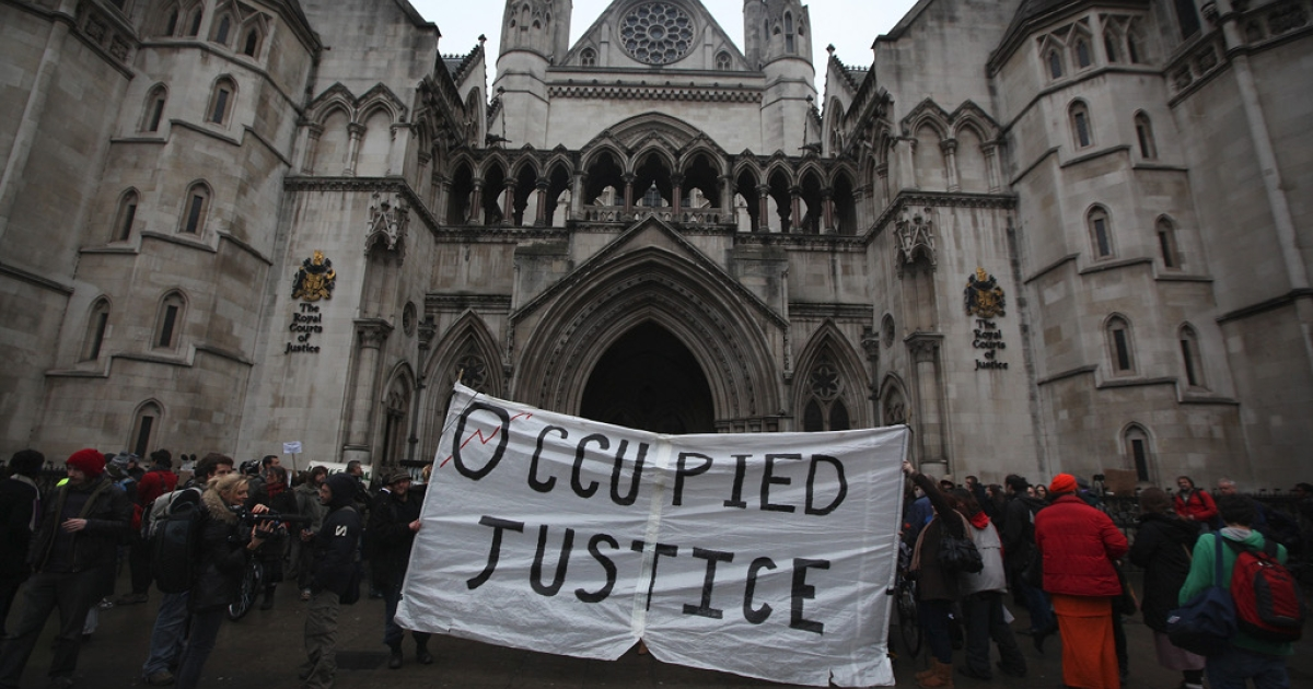 outside The High Court on January 18, 2012 in London, England. The City of London Corporation have won their legal bid to have the Occupy London movement removed from the pavements outside St Paul's Cathedral.</p>