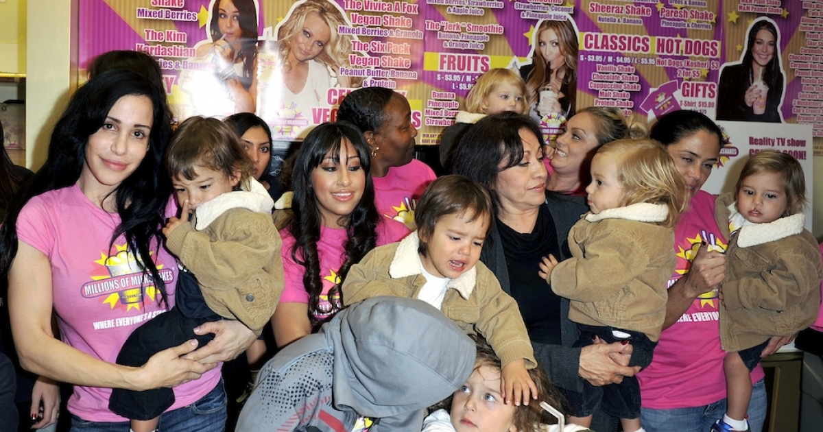 Octomum Nadya Suleman and her large family plus helpers launch their signature Milkshake at 'Millions of Milkshakes' on November 10, 2010, in West Hollywood, California.</p>
