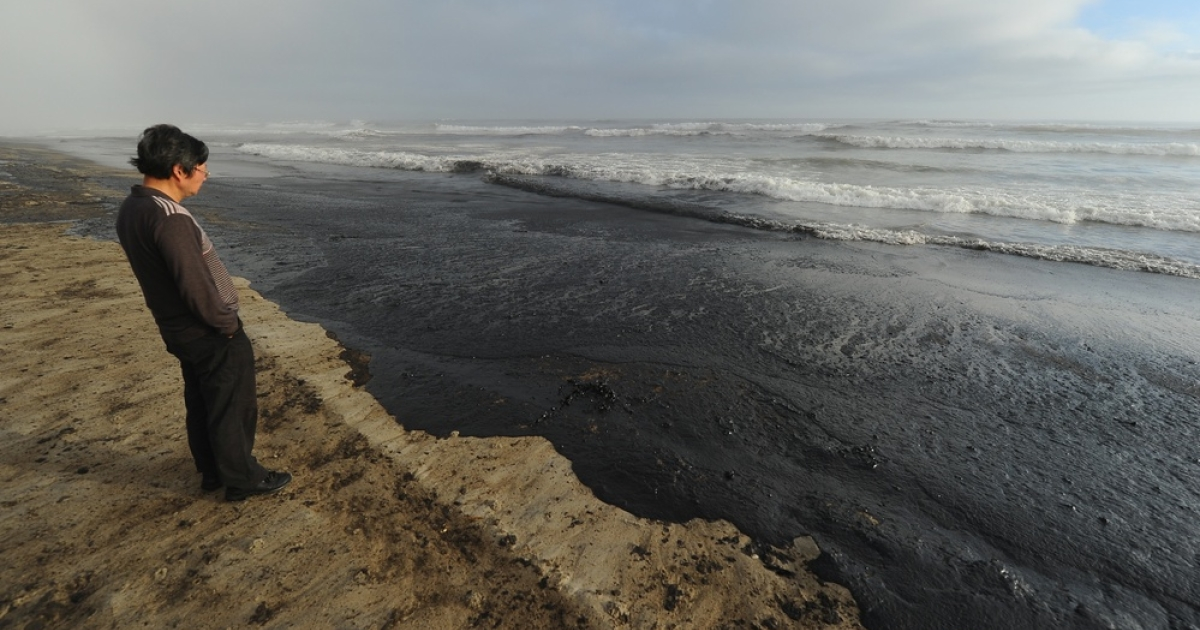 It makes the world go 'round. It's also really messy when it leaks out. Here, a recent (non-Chevron) spill washes ashore in New Zealand.</p>
