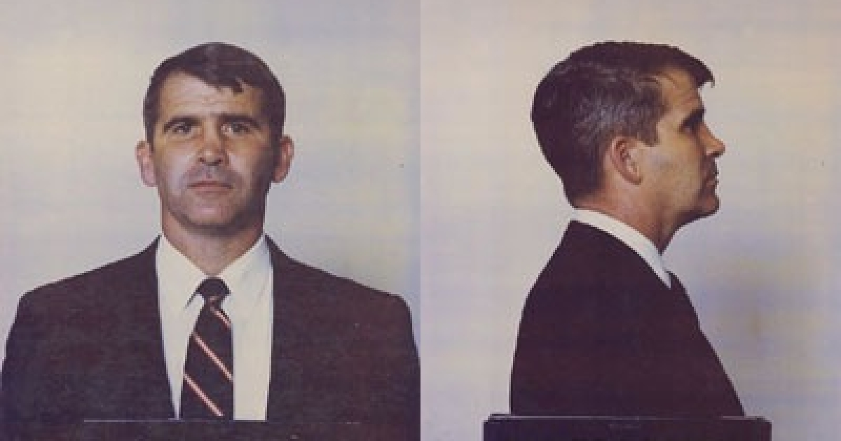 Oliver North's mugshot, taken on the day of his arrest following an indictment for 16 felonies relating to the Iran-Contra affair.</p>