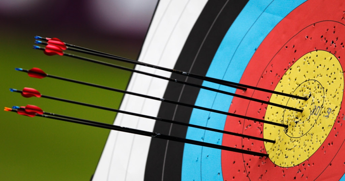 Arrows in the target on the practice range during the London Archery Classic at Lord's Cricket Ground on October 4, 2011 in London.</p>