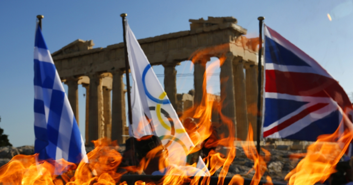 The Olympic flame burns in a cauldron atop the Athens Acropolis on May 16, 2012 in Athens, Greece. The Olympic flame with be handed over to London during a handing over ceremony that will be held in Athens on Thursday May 17.</p>