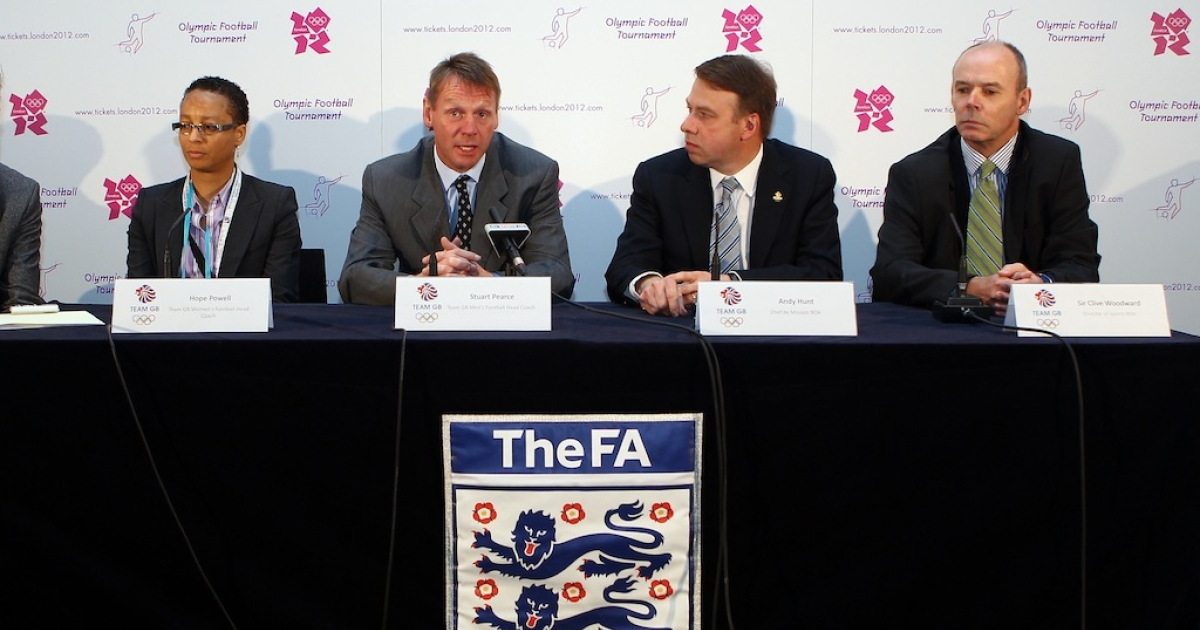 (L-R) Hope Powell, GB women's team coach, Stuart Pearce, GB men's team coach, Andy Hunt, chef de mission BOA, Sir Clive Woodard, director of sports BOA, in a press conference after the official draw for the London 2012 Olympic Football Tournament at Wembley Stadium on April 24, 2012 in London, England.</p>