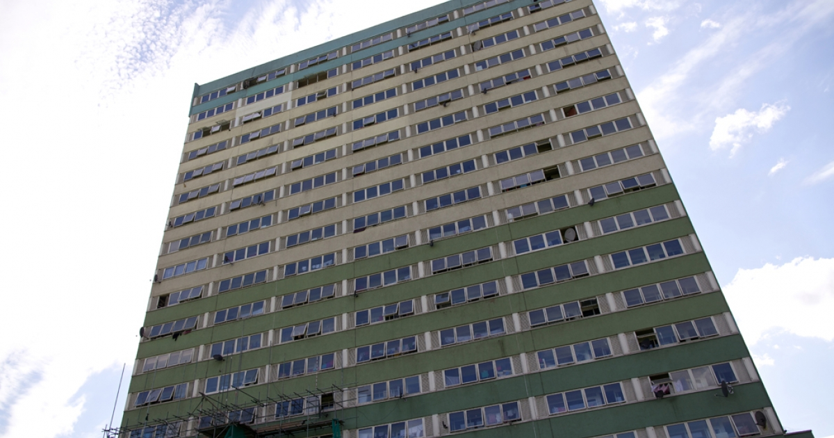 The Fred Wigg Tower, a proposed site for the stationing of surface-to-air missiles during the London 2012 Olympic Games, is pictured in east London, on June 30, 2012. British residents living near London's Olympic Park launched legal action over government plans to station surface-to-air missiles on the roof of their rented flats. A High Court judge rejected the residents' arguments on July 10, 2012.</p>