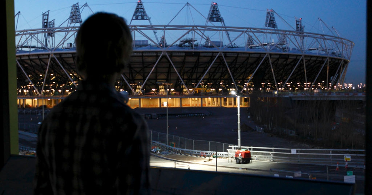 The Olympics park today.  Six months from today it will not be so dark.  Danny Boyle's opening ceremony promises to light up the sky.</p>