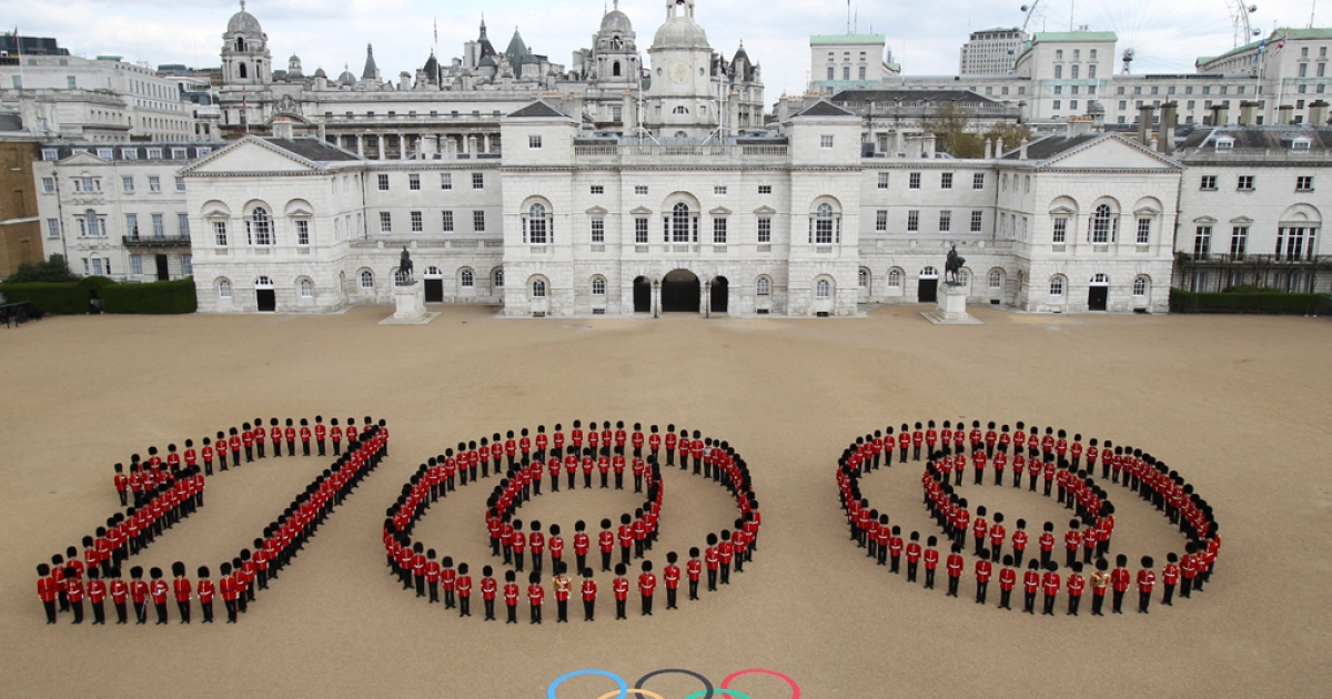 In this handout image provided by LOCOG, An aerial view of the Horse Guards Parade in central London where 260 Guardsmen from the Grenadier, Coldstream, Scots and Welsh Guards mark 100 days to go to the London 2012 Olympic Games on April 16, 2012 in London, England. Tomorrow, April 18th, 2012 marks 100 days to go until the start of the London 2012 Olympic Games.</p>