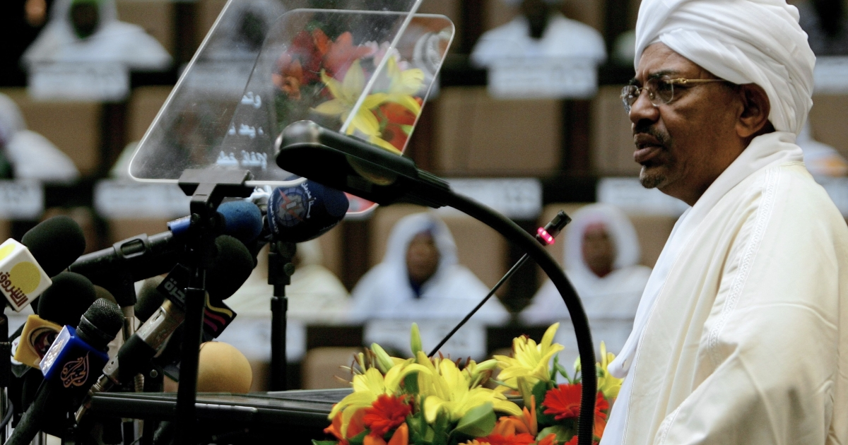 Sudanese President Omar al-Bashir addresses the fifth session of the National Assembly in Khartoum on April 9, 2012.</p>