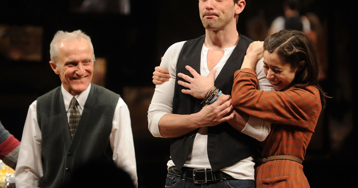 Steve Kazee (C) and Christin Milioti on stage after the opening night of