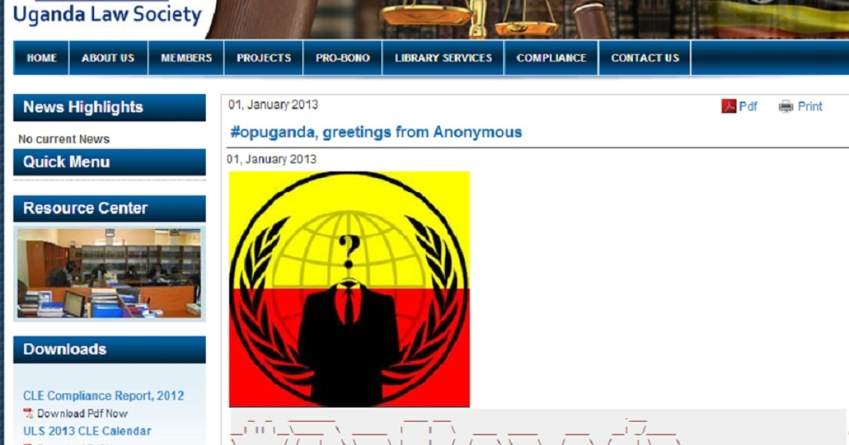 A screengrab of the Ugandan Legal Society's webpage defaced by Anonymous as part of OpUganda</p>