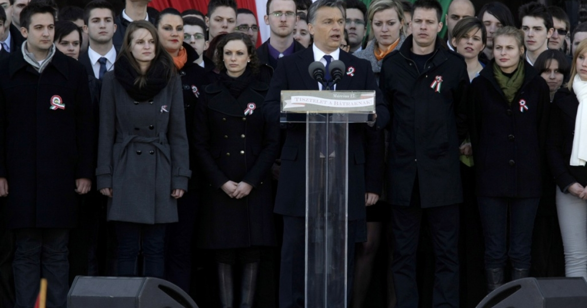 Hungarian Prime Minister Viktor Orban delivering his broadside against the EU yesterday in Budapest.</p>