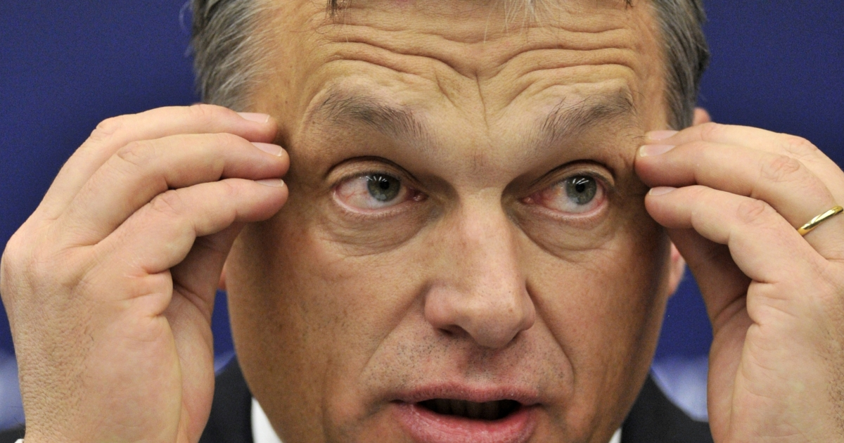 Hungarian Prime Minister Viktor Orban gives a press conference today at the European Parliament in Strasbourg.</p>