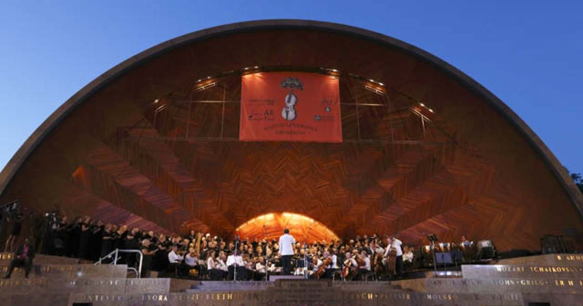 A sight to match the sound as dusk falls during the Boston Landmarks Orchestras opening night concert, July 11, 2012.</p>