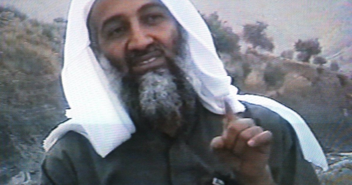 This frame grab from the Saudi-owned television network MBC (Middle East Broadcasting Center) shows alleged terror mastermind Osama bin Laden gesturing an undated videotape broadcast by the Dubai-based MBC April 17, 2002.</p>