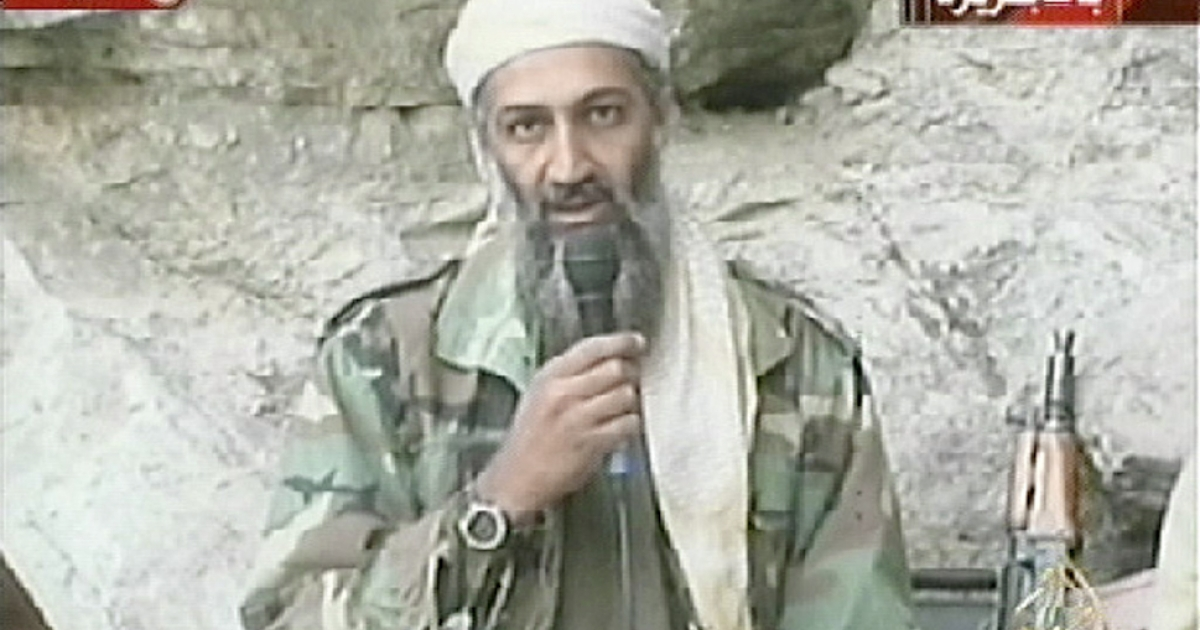 Saudi-born alleged terror mastermind Osama bin Laden is seen in this video footage recorded at an undisclosed location in Afghanistan aired by Al Jazeera October 7, 2001.</p>