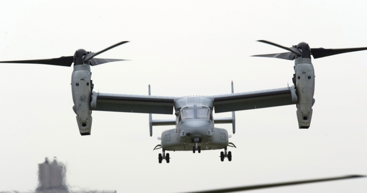 An MV-22 Osprey flies overhead as the US Marines conduct a public helicopter demonstration in May 2010 in New York. These aircrafts are now under scrutiny for a spotty safety record.</p>