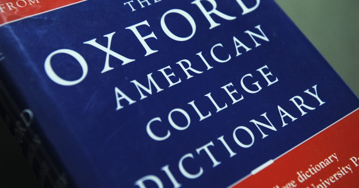 View of the Oxford American College dictionary. The dictionary voted