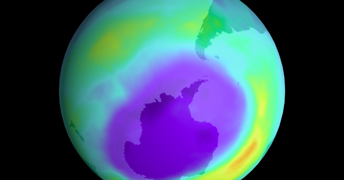 NASA scientists say the ozone hole size peaked in September 2000.</p>
