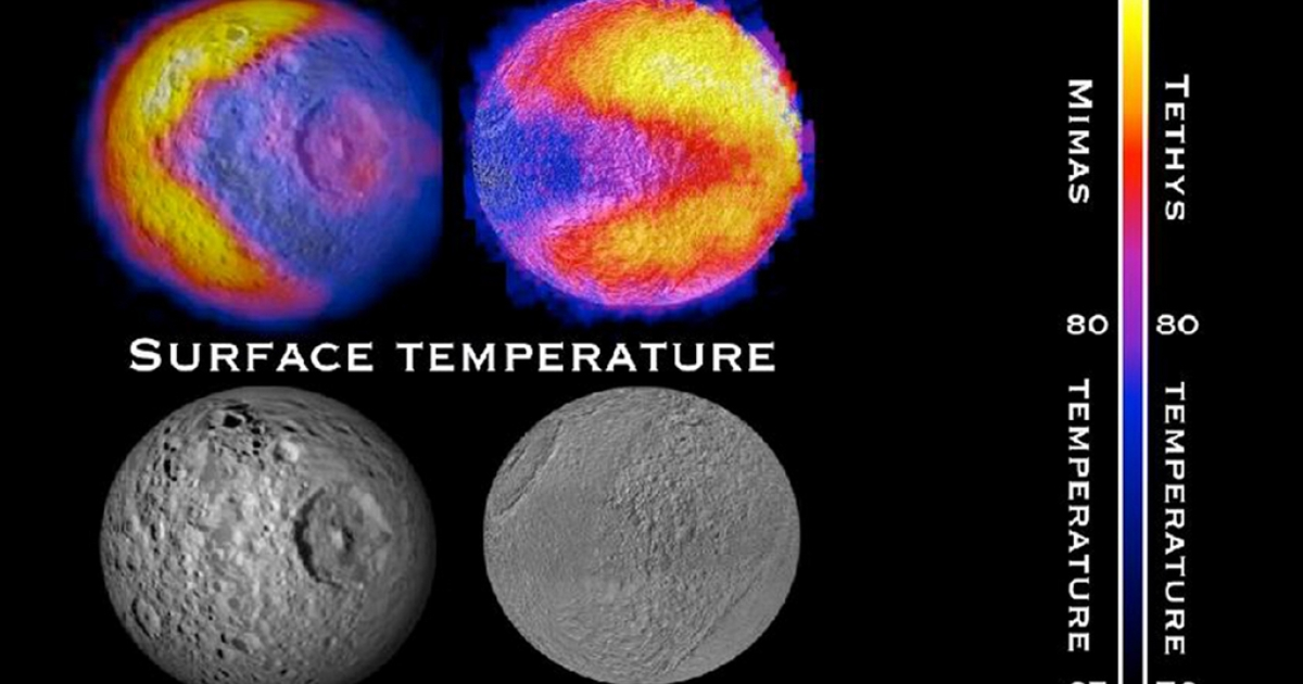 The image of Pac-man appeared in the thermal data of one of Saturn's moons recently - the second such occurrence.</p>