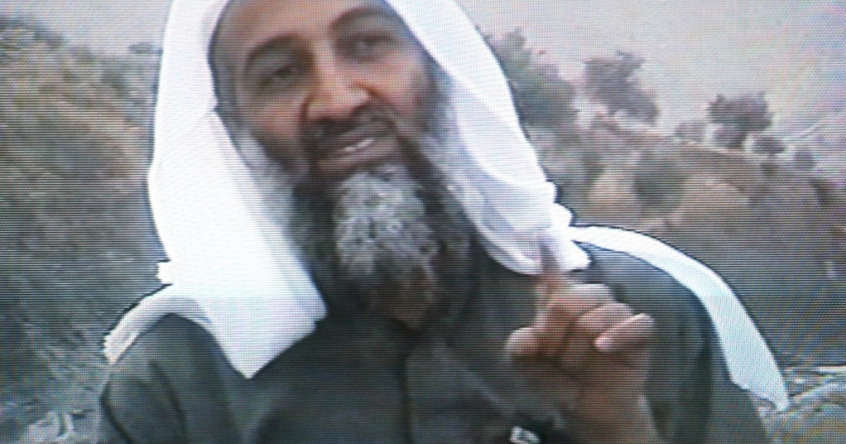 This frame grab from the Saudi-owned television network MBC (Middle East Broadcasting Center) shows Osama bin Laden in a videotape broadcast by the Dubai-based MBC 17 April 2002. In the video bin Laden hailed the economic losses suffered by the United States as a result of the September 11 suicide attacks on Washington and New York in the tape which was reportedly recorded in December.