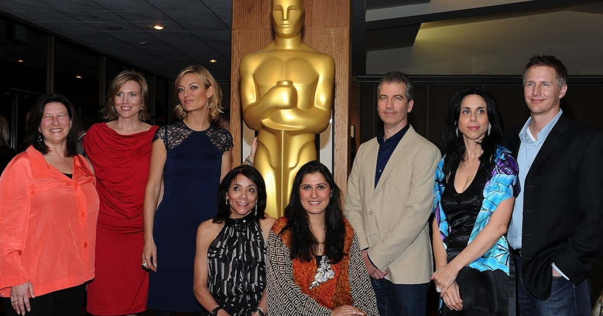 Pakistan's first Oscar nominated filmmaker, Sharmeen Obaid-Chinoy (fifth from the left), with other nominated filmmakers at a reception party for the Academy of Motion Picture Arts and Sciences on Feb. 22, in Beverly Hills, California.</p>