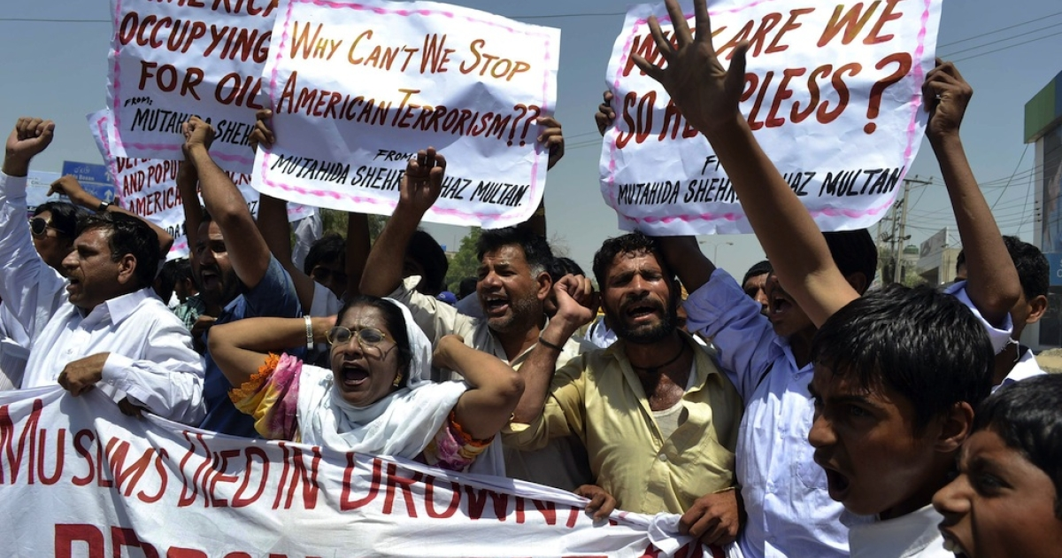 Pakistani protesters belonging to United Citizen Action shout anti-U.S. slogans during a protest in Multan on April 22, 2011, against the U.S. drone attacks in Pakistani tribal areas.</p>