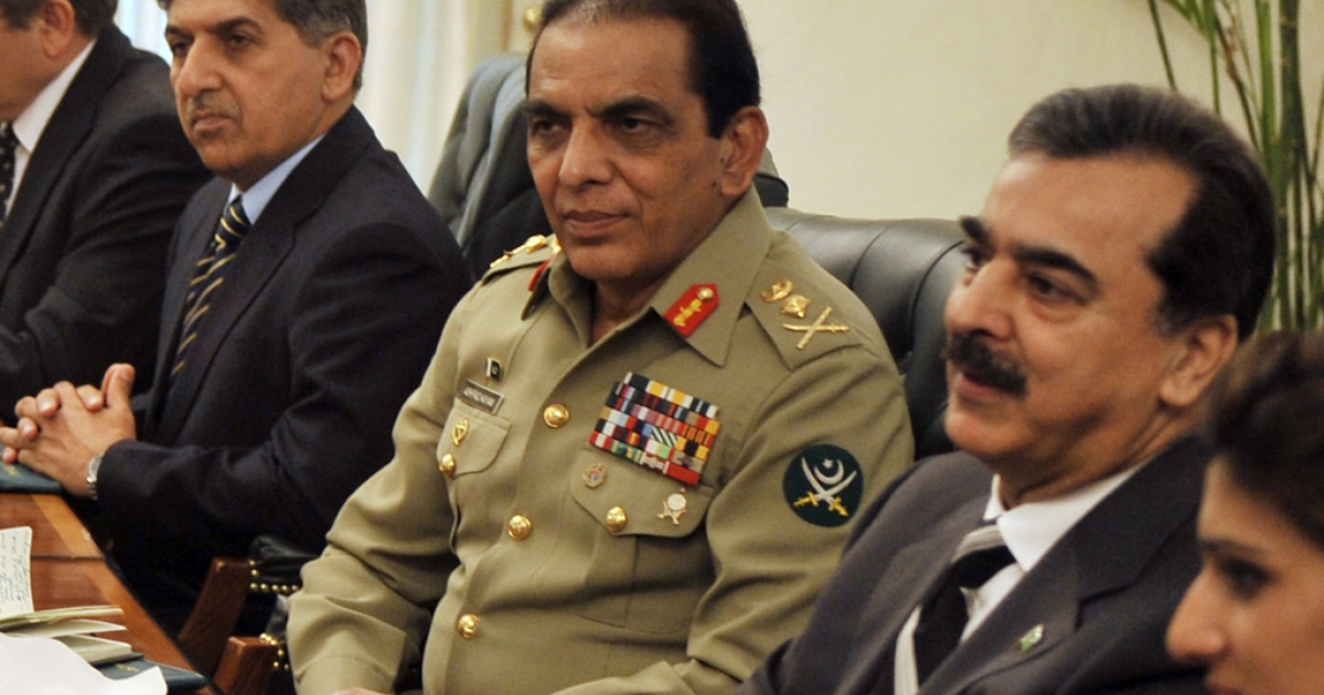 Pakistani Prime Minister Yousuf Raza Gilani (R), Pakistani army chief Gen. Ashfaq Kayani (C) and Pakistan's Inter-Services Intelligence (ISI) Lt. Gen. Ahmad Shuja Pasha (L) during a meeting in Islamabad on June 11, 2011. Pasha is scheduled to retire on March 18, 2012 and will be replaced by Lt. Gen. Zaheerul Islam.</p>