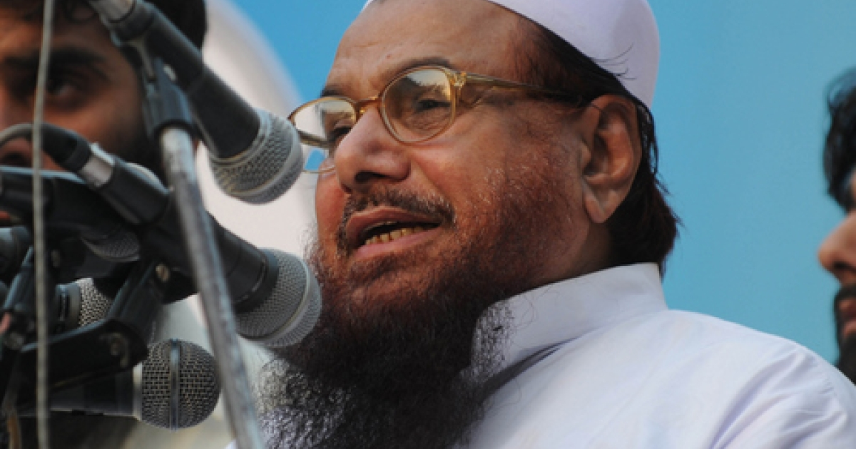 Hafiz Saeed, leader of banned charity organisation Jamaat-ud-Dawa, speaks at a rally in Lahore on June 13, 2010. Saeed, the alleged founder of the Lashkar-e-Taiba terrorist organization, is a prominent member of a new 40-party coalition that includes Pakistan's former intelligence chief, Hamid Gul, former army chief Mirza Aslam Baig and politicians like Sheikh Rasheed and Ijazul Haq.</p>
