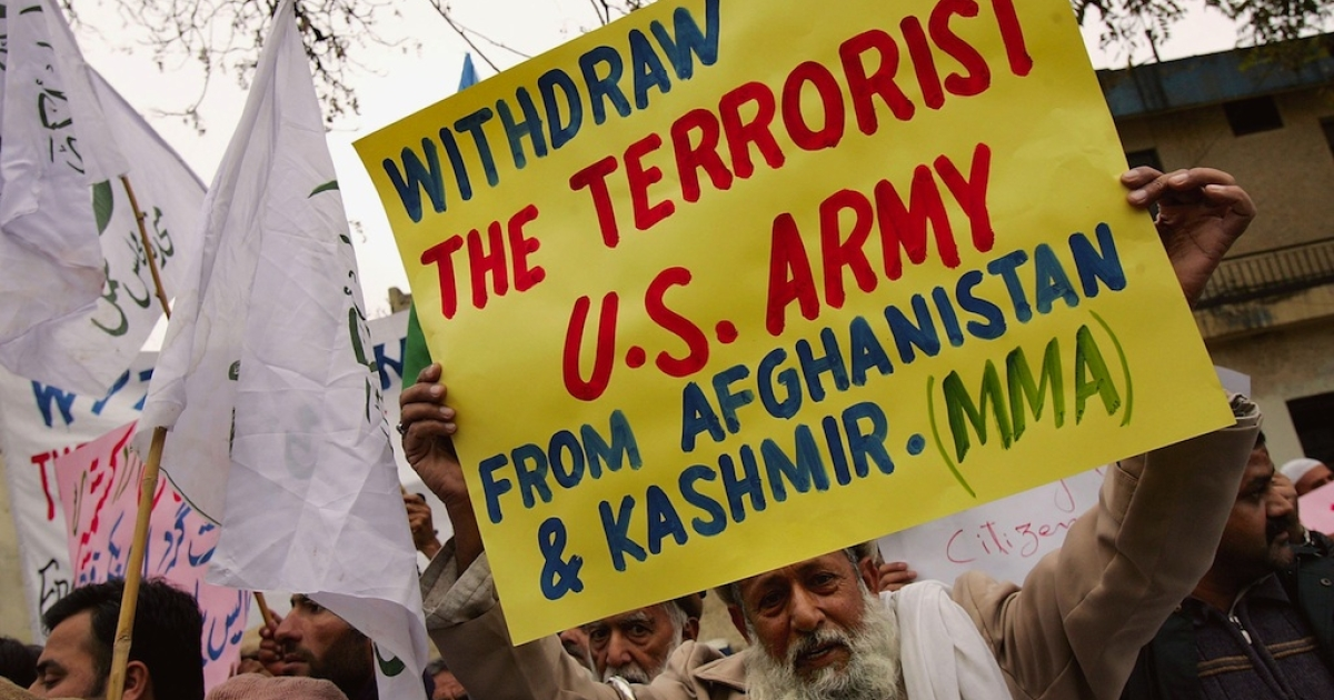 Protesters from Pakistani Islamic parties demonstrate against an alleged American airstrike in Pakistan's northwestern tribal areas in Islamabad, Pakistan.</p>